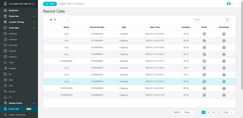 android web control panel to record call